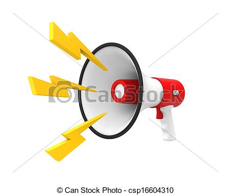 Clipart of Loudspeaker or Megaphone Isolated.