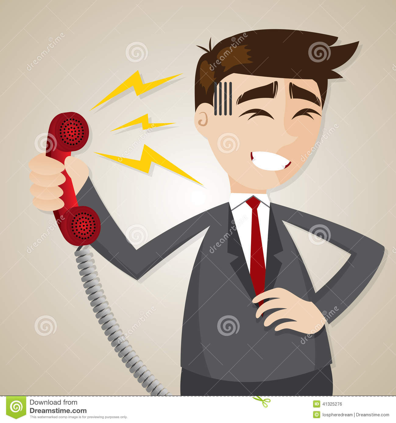 Cartoon Businessman With Loudness From Telephone Stock Vector.