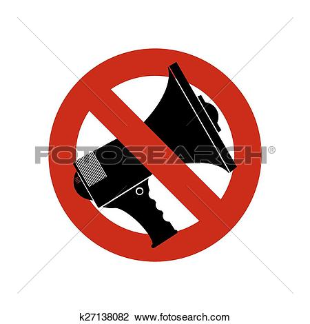 Clipart of No Speech Speak Loudness, megaphone ban k27138082.