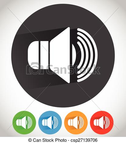 Vector Clipart of Speaker icon for volume, loudness or alarm.