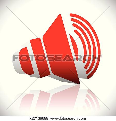 Clip Art of Speaker icon for volume, loudness or alarm concepts.