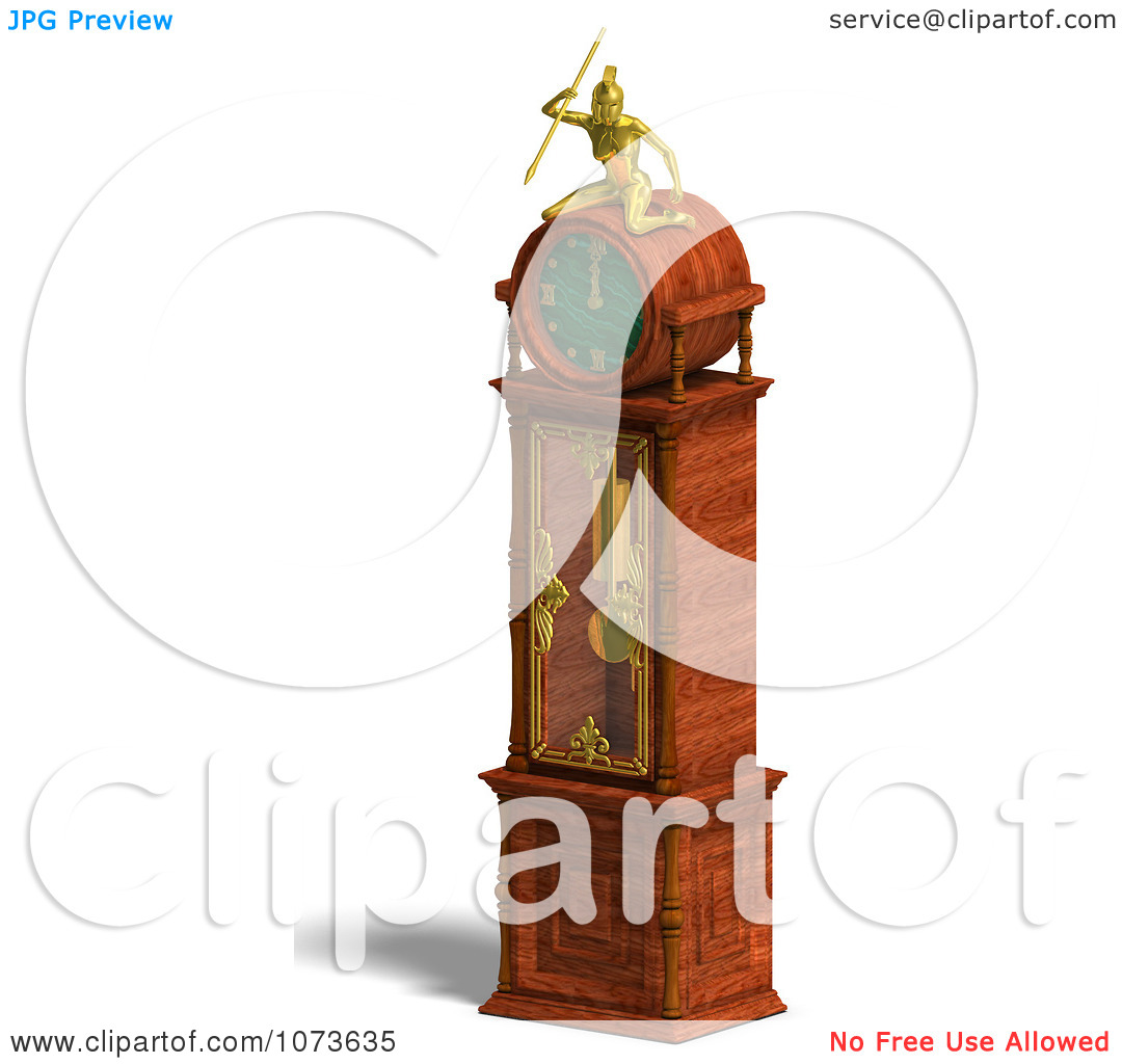 Clipart 3d Louis Xv Grandfather Clock 2 Royalty Free Cgi.