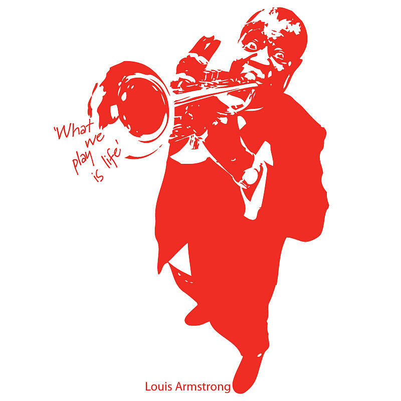 louis armstrong 'what we play…' wall sticker by the bright blue.