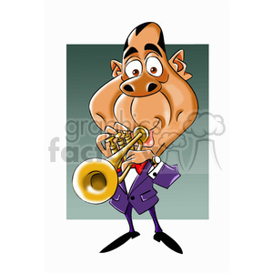 louis armstrong cartoon character clipart. Royalty.
