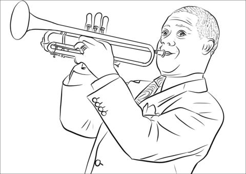 Louis Armstrong coloring page.