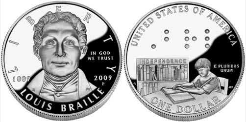 USA One Dollar Coin Louis Braille Clip Art Download.