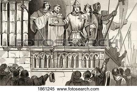 Stock Image of Louis Vii The Younger 1120 To 1180 Raises Support.