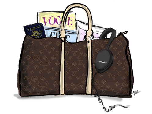 Louis Vuitton duffel bag.