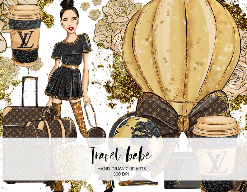 Travel Babe Fashion Clip Art, Planner, Hand Draw, Louis Vuitton, Fashion  Illustration, DIY, Lady Boss, Digital Instant Download PNG files.