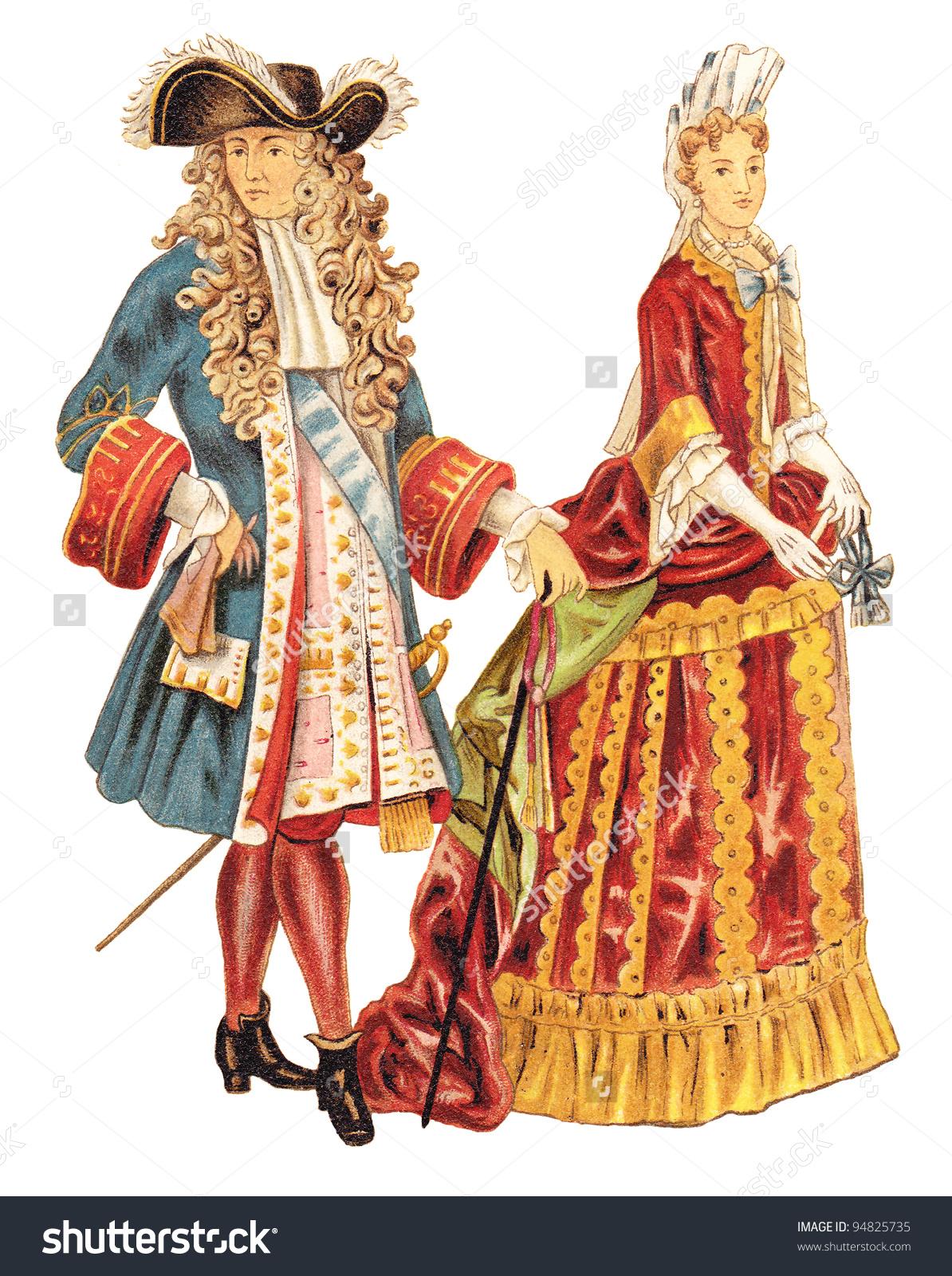 Louis Xiv France French Noblewoman 16801700 Stock Illustration.
