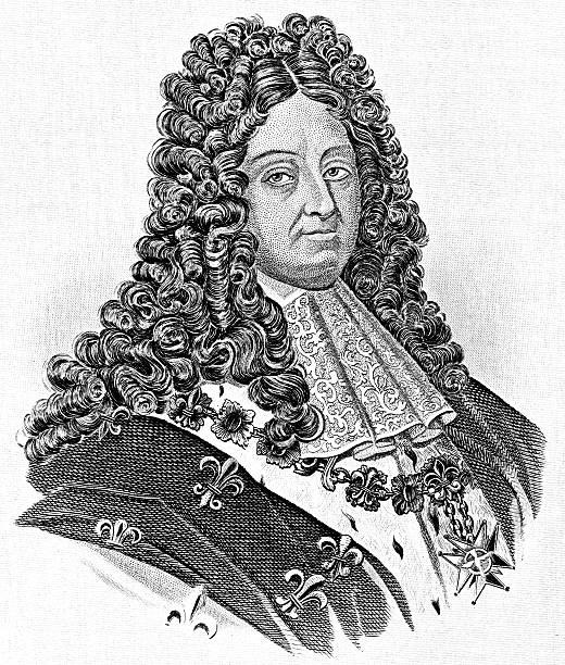 Louis Xiv, King Of France (Antique Engraving) Clip Art, Vector.