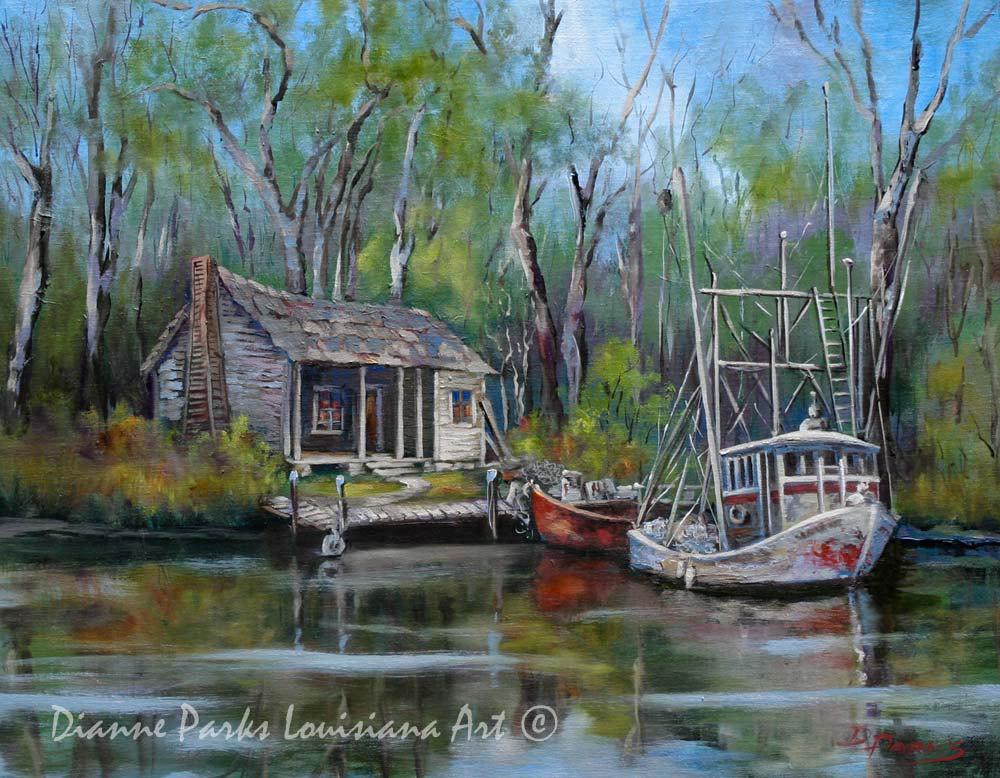 Louisiana Bayou Swamp Art Shrimp Boat and Cabin Landscape.