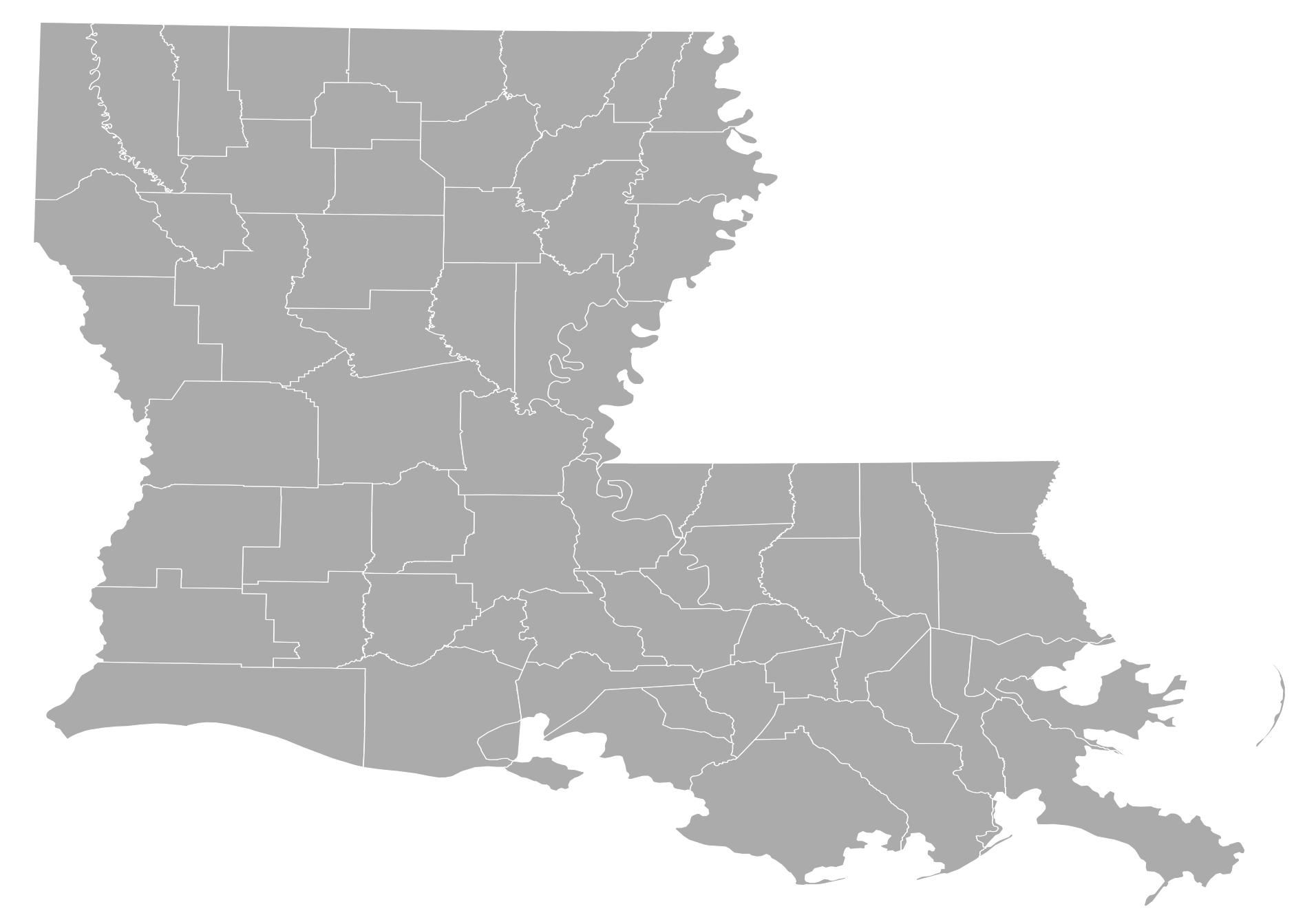 Louisiana Counties • Mapsof.net.