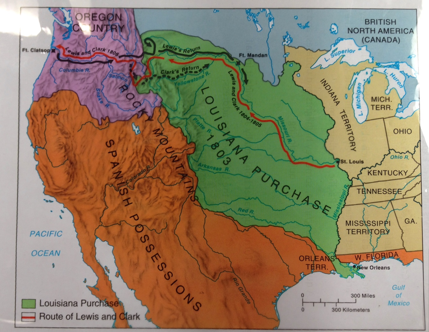 Outline Map Of The Louisiana Purchase With Louisiana Territory.