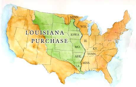 Louisiana Territory Map Clipart.
