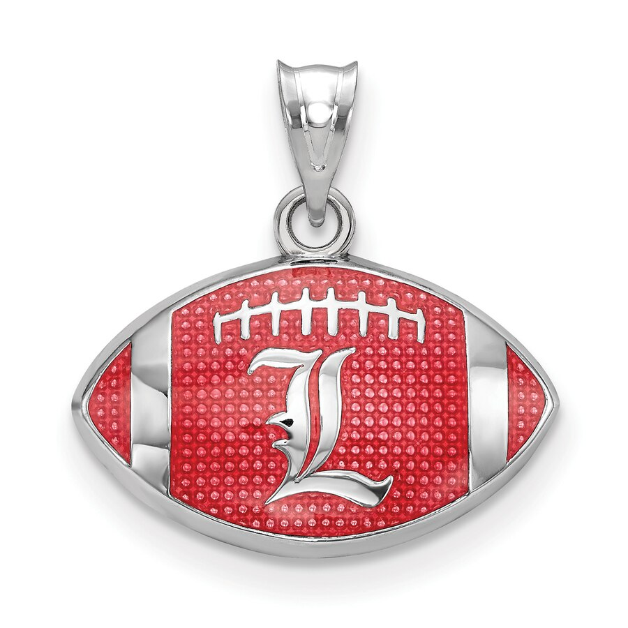 Women\'s Louisville Cardinals Sterling Silver Enameled Football Logo Pendant.