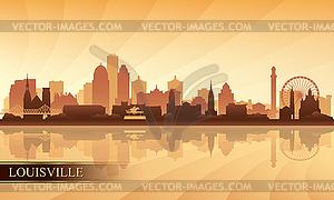Louisville city skyline silhouette background.