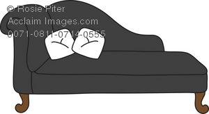 Royalty Free Clipart Illustration of a Black Chaise Lounge With.