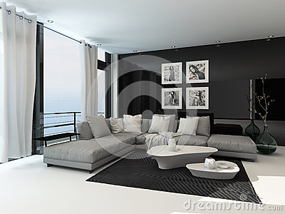 Modern Corner Lounge Suite Overlooking Sea Stock Illustrations.
