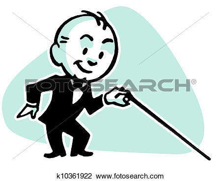 Clip Art of A cartoon style drawing of a small man dressed in a.