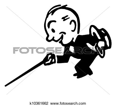 Clip Art of A black an white version of a cartoon style drawing of.