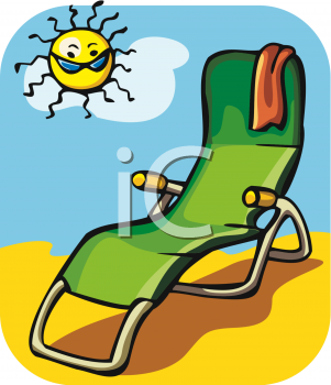 Clipart Picture of a Fold Up Lounger Chair on the Beach.
