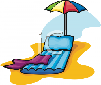 Clipart Picture of an Inflatable Beach Lounge Chair and Umbrella.