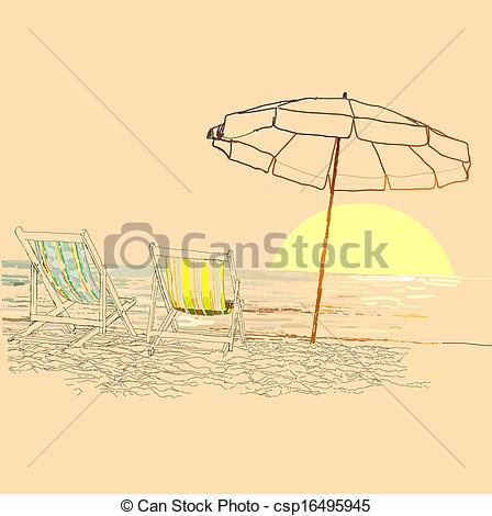 EPS Vector of Pair of beach loungers on the deserted coast sea at.