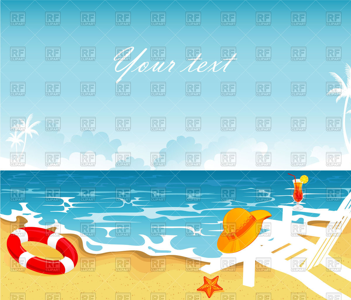 Tropical beach with palm trees and sun loungers Vector Image.