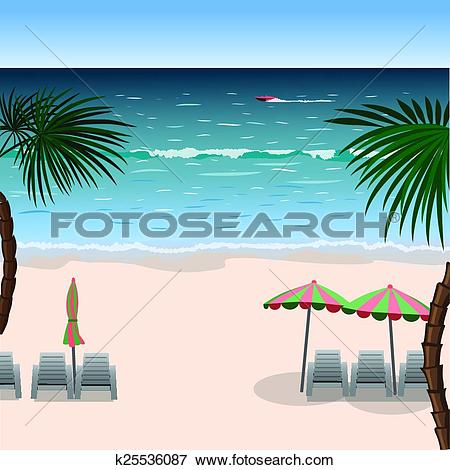Clip Art of Landscape of a beach with white sand, sea, umbrellas.