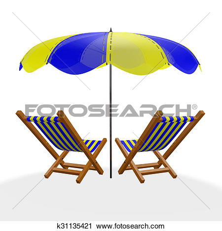 Clipart of Two Blue Yellow Beach Loungers Under Parasol k31135421.