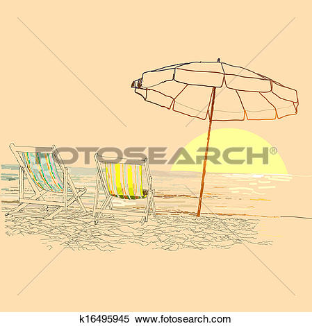 Clipart of Pair of beach loungers on the deserted coast sea at.