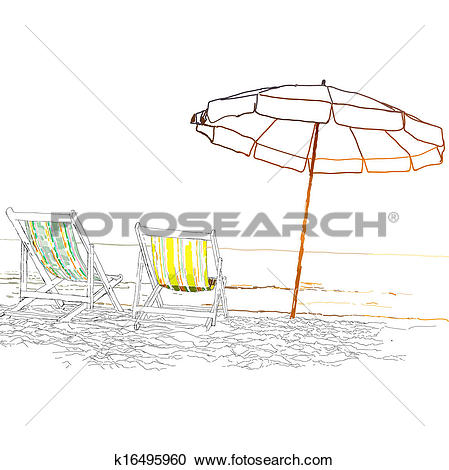 Clipart of Pair of beach loungers on the deserted coast sea.