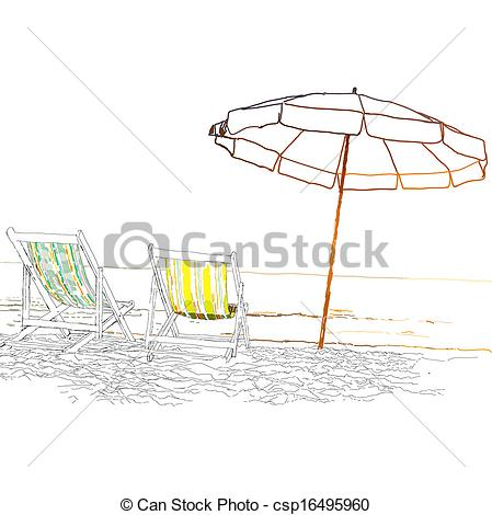 Clip Art Vector of Pair of beach loungers on the deserted coast.