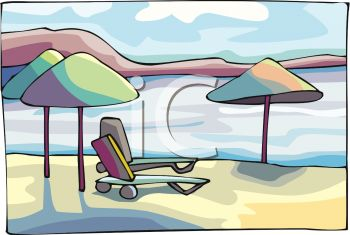 Beach Umbrellas and Chaise Lounges on the Beach.
