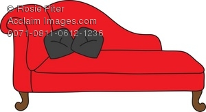 Red Chaise Lounge With Black Pillows Royalty Free (RF) Clip Art.