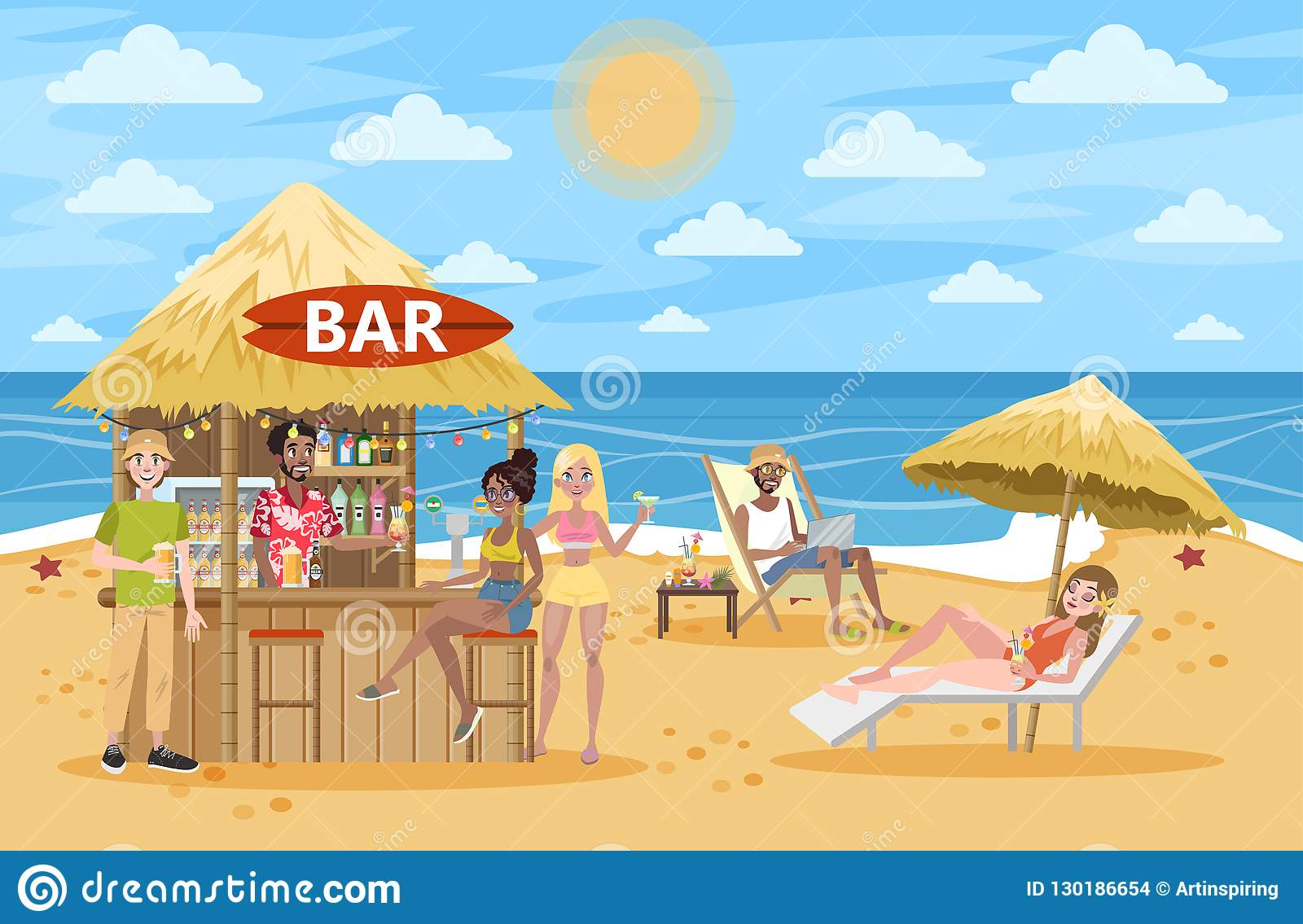 People Drink Cocktail At The Beach Bar Stock Vector.