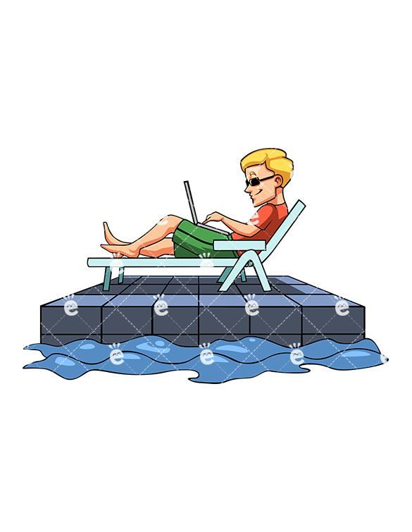A Man Working From His Laptop While Lounging In A Beach.
