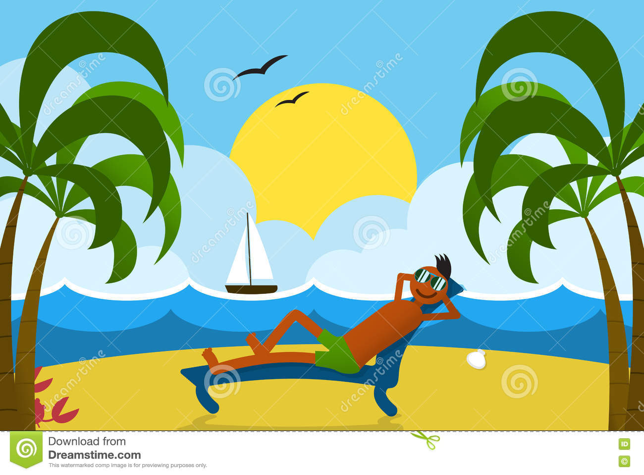 Lounging Man on Beach stock vector. Illustration of relax.