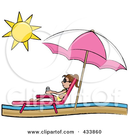 Brunette Stick Girl Relaxing In A Lounge Chair On The Shore.