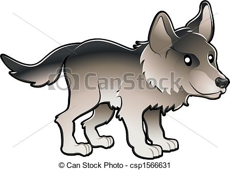 Vector Clip Art of Cute Wolf Vector Illustration.