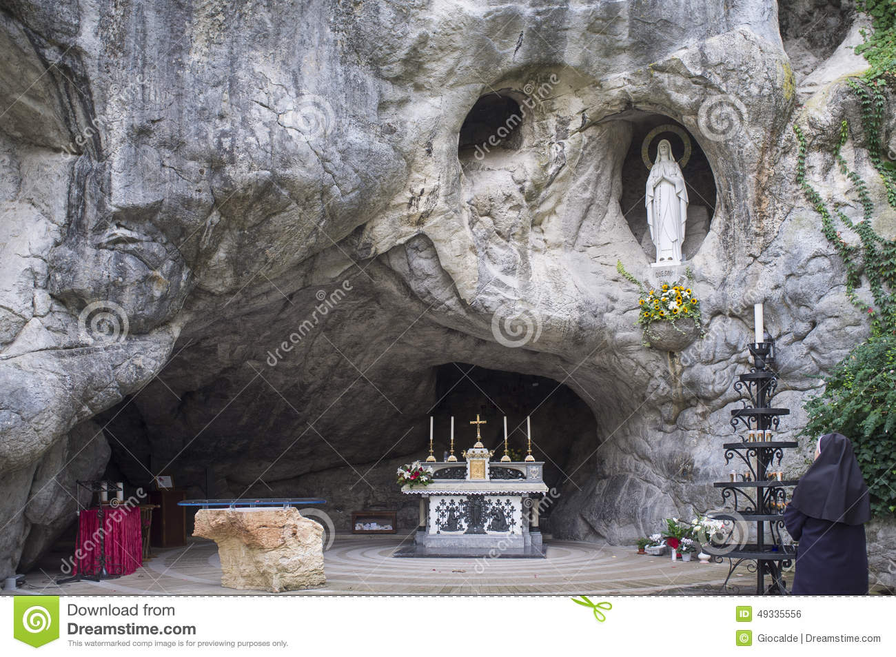 Lourdes Grotto Miracles Stock Photo.
