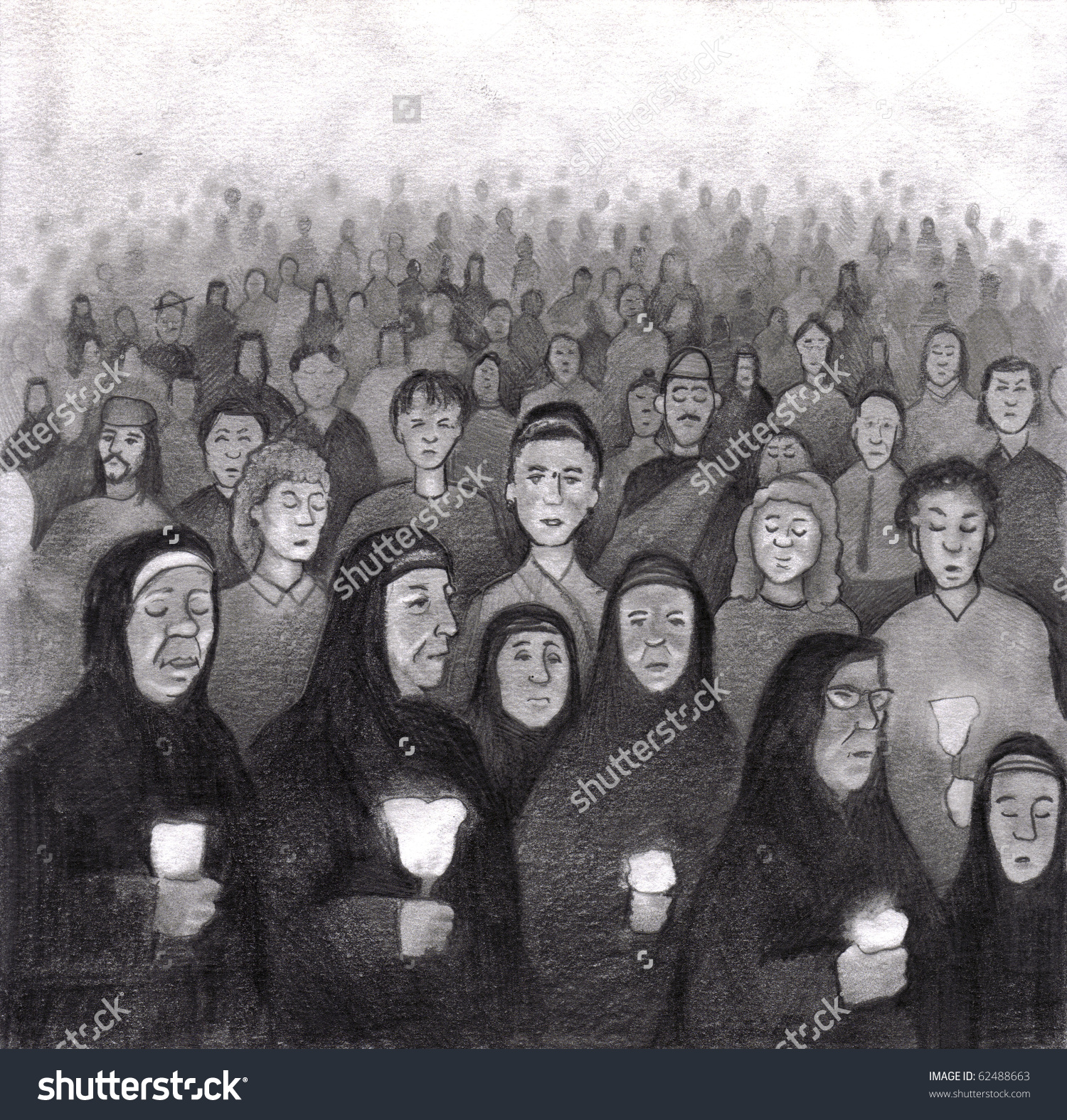 Many Catholic People Praying Lady Lourdes Stock Illustration.