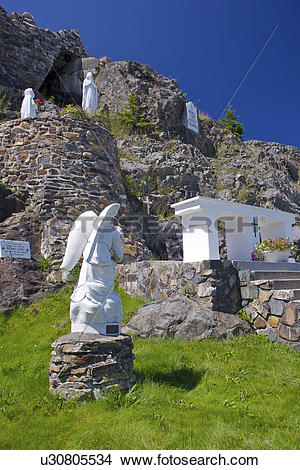 Stock Photo of Our Lady of Lourdes Grotto in the town of Flat Rock.