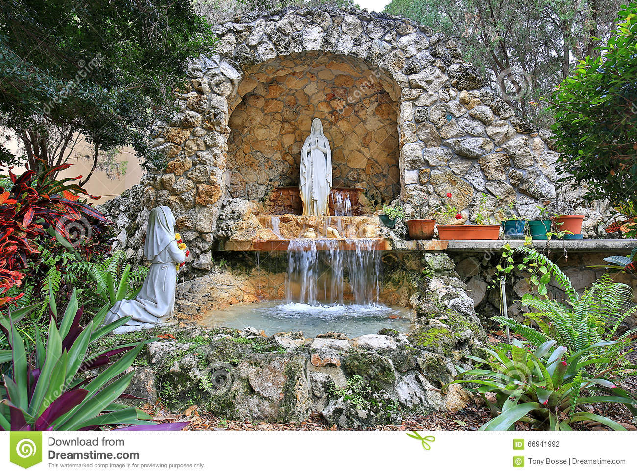 Lourdes Grotto On Aruba Stock Photo.