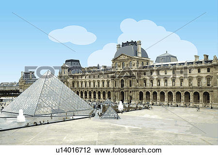 Clip Art of France, Paris, Louvre, Capital Cities u14016712.
