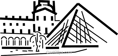 Louvre, Paris Royalty Free Vector Clip Art illustration.