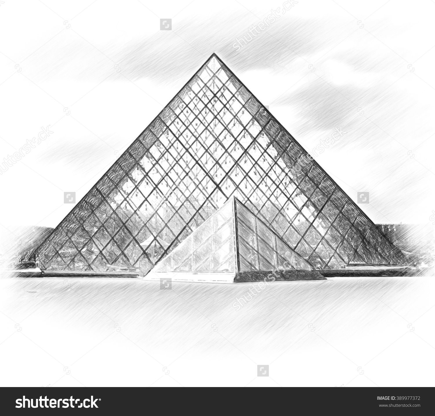 Pyramid. Louvre Museum. Paris. Stock Photo 389977372 : Shutterstock.