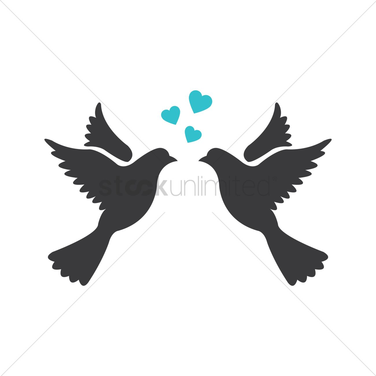 Love Bird Silhouette Vector.
