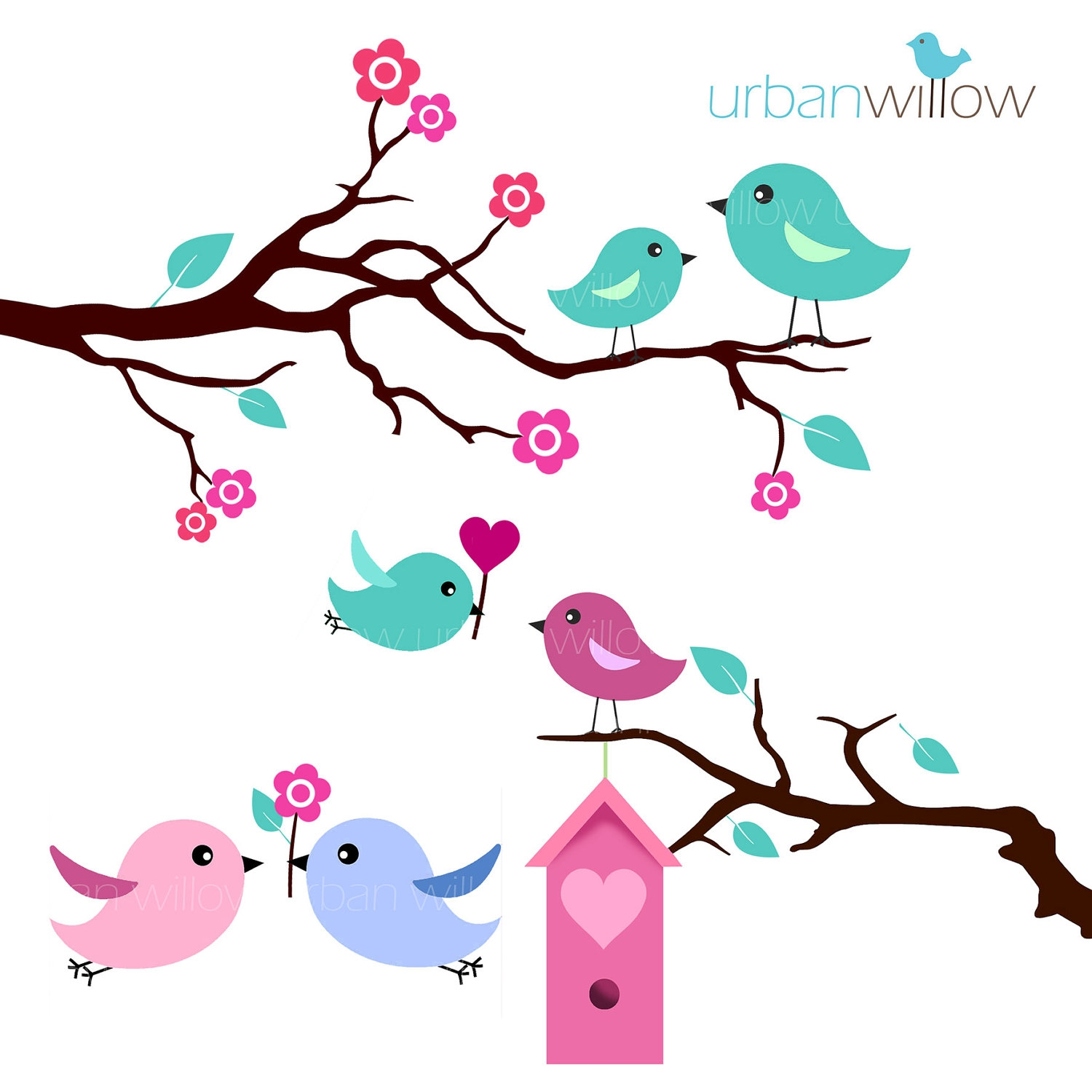 Mint Green Love Birds Clipart.